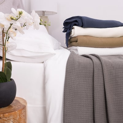 Sweet Home Collection Cotton Basket Weave Textured Blanket