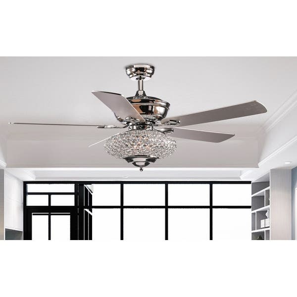 52 Deneb 5 Blade Crystal Ceiling Fan With Remote Control And Light Kit Included Overstock 31964114