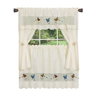Daisy Meadow Embellished Embroidered Kitchen Curtain Set, White, 58x36 Inches