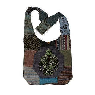 Embroidered Ganesh Cotton Patchwork Tapestry Crossbody Bag