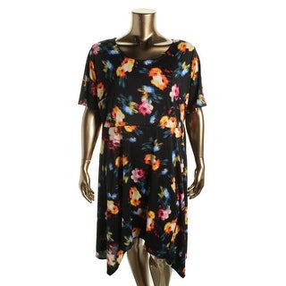 NY Collection Womens Plus Printed Elbow Sleeves Casual Dress - 1X