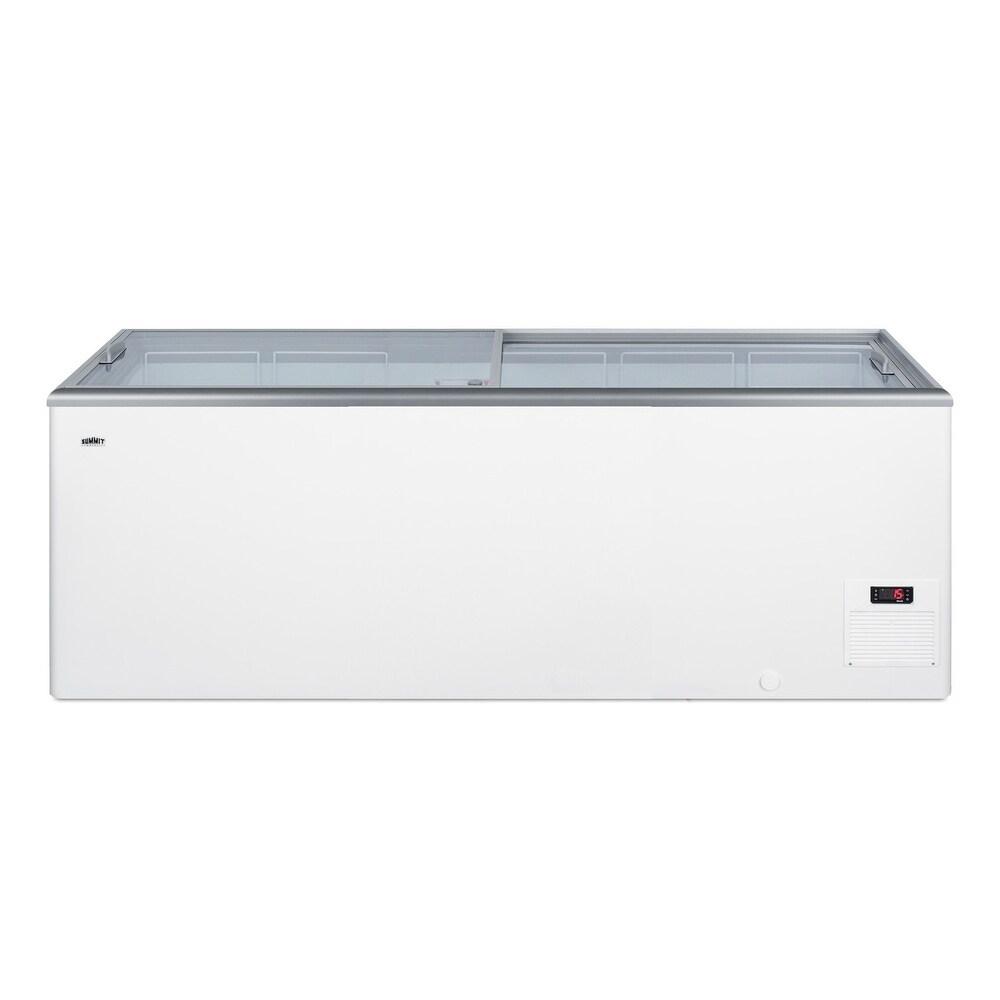 "Summit  NOVA61  Commercial 71"" Wide 21.3 Cu. Ft. Capacity Food & Beverage Freezer Merchandiser - White (White)"