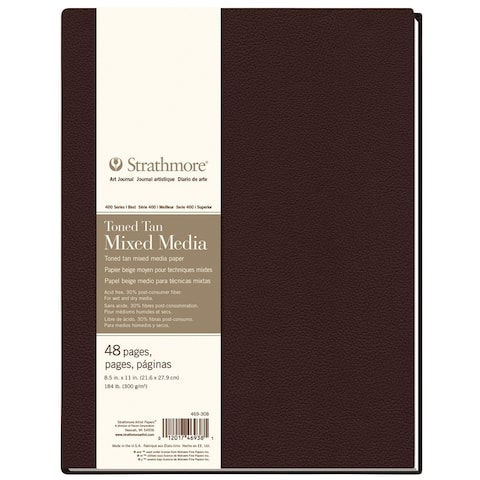 Strathmore st469-308 hb toned mixed media tan journal 8.5 x 11