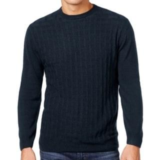 Weatherproof NEW Blue Navy Mens Size Medium M Crewneck Weave Sweater