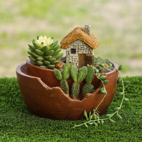 Miniature Fairy Cottage Succulent Resin Planter