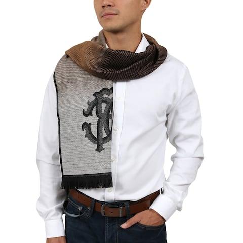 Roberto Cavalli ESZ059 00508 Taupe/Tan Wool Blend Ombre Mens Scarf - 36