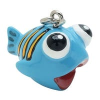 Hand Painted 3D Lightweight Jewelry Charm, Cute Fish, 19mm, 1 Piece, Blue