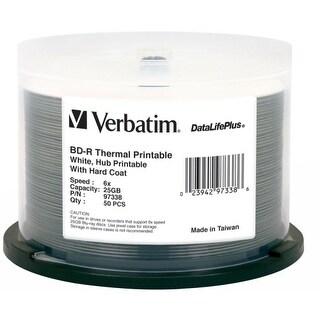 Verbatim 97338 Verbatim BD-R 25GB 6X DataLifePlus White Thermal Printable, Hub Printable - 50pk Spindle - 25GB - 50pk Spindle