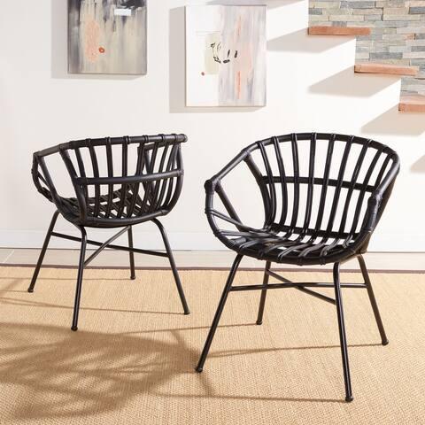 """SAFAVIEH Avril Coastal Rattan Dining Room Chair (Set of 2) - 24.8"""" W x 21.7"""" L x 29.1"""" H"""
