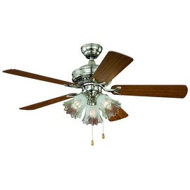 "Vaxcel Lighting F0010 Orchard 44"" 5 Blade Indoor Ceiling Fan - Light Kit and Fan Blades Included - Satin Nickel"