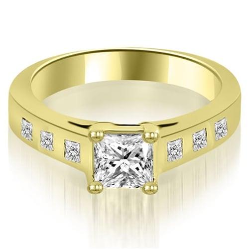1.00 cttw. 14K Yellow Gold Princess Cut Bezel Engagement Diamond Ring