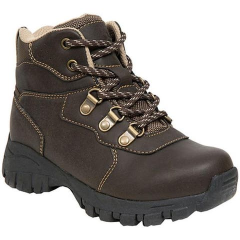 Deer Stags Boys' Gorp Boot Dark Brown/Taupe Simulated Leather/Nylon