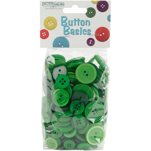 Button Basics Assorted Buttons 5.5Oz-Forest Green