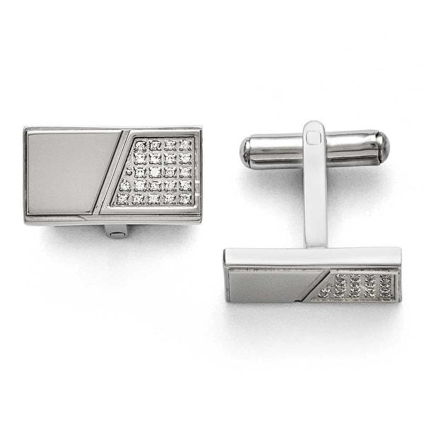 Chisel Stainless Steel Polished with CZ Cuff Links