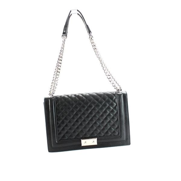 Nine West Black Silver Chain Quilted Inaya Shoulder Handbag Purse
