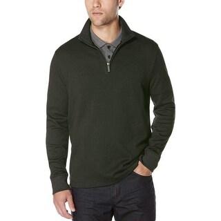 Perry Ellis Mens Big & Tall 1/4 Zip Pullover Jacquard Textured