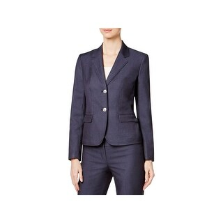 Nine West Womens Two-Button Blazer Star Collar Long Sleeve