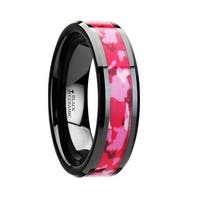 THORSTEN - SIERRA Black Ceramic Ring with Pink and White Camouflage Inlay - 6mm