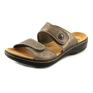 Clarks Narrative Leisa Lacole Women  Open Toe Leather Bronze Slides Sandal