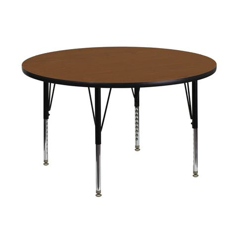 Offex 48'' Round Activity Table with 1.25'' Thick High Pressure Oak Laminate Top and Height Adjustable Pre-School Legs