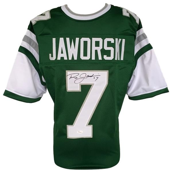 Shop Ron Jaworski Signed Custom Green Throwback Football Jersey JSA ... f60a85120