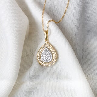 Link to 1/6ct TDW Diamond Cluster Halo Necklace Pendant in 10k Gold by De Couer Similar Items in Necklaces
