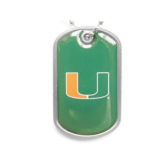 Miami Hurricanes Dog Tag Domed Necklace Charm Chain NCAA