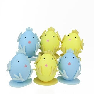 """Set of 6 Yellow and Blue Felt Easter Egg Chicken Spring Figure Decorations 2.75"""""""