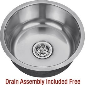 "Miseno MSS17C 17-1/8"" Circular Undermount Stainless Steel Bar / Prep Sink - Drain Assembly Included - 18 gauge stainless steel"