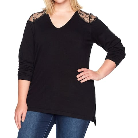 Love Scarlett Black Womens Size XS Lace Inset Pullover Sweater