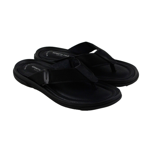 Kenneth Cole New York Design 10819 Mens Black Leather Flip Flops Sandals Shoes