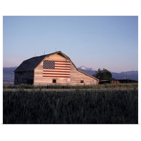 """""""Barn with United States flag, Colorado"""" Poster Print"""