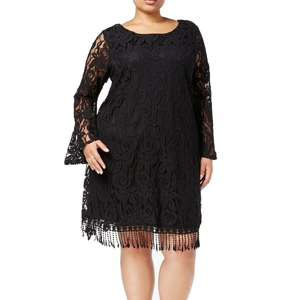 127f1102b41 Shop ING Black Women s 3X Plus Floral Lace Fringed Illusion Shift Dress -  Free Shipping On Orders Over  45 - Overstock - 27602436