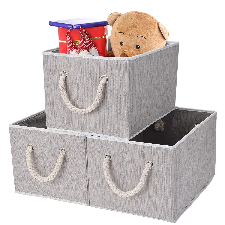 Jumbo Js Home Storage Baskets Closet Storage Baskets Decorative Storage Bins Storage Bins For Shelves Grey White 3 Pack Storage Baskets With Handles Kids Home Store Nursery Furniture