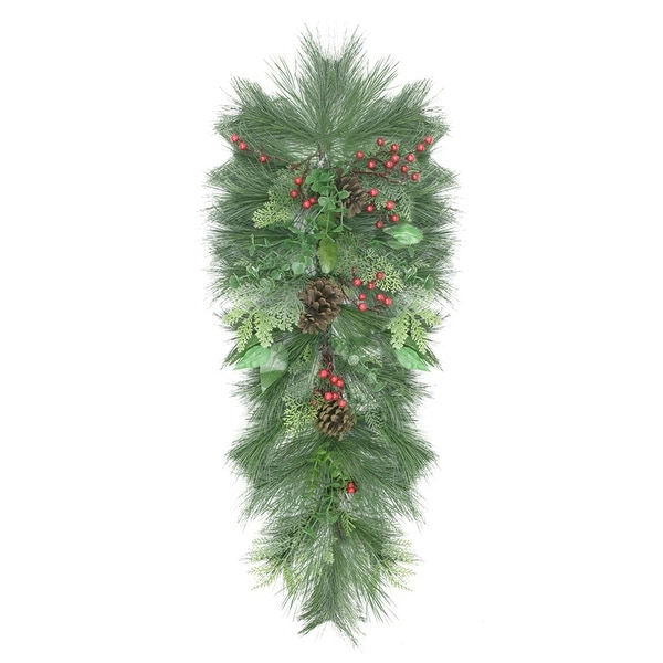 "38"" Decorated Long Needle Pine, Pine Cone and Berry Artificial Christmas Teardrop Swag - Unlit"