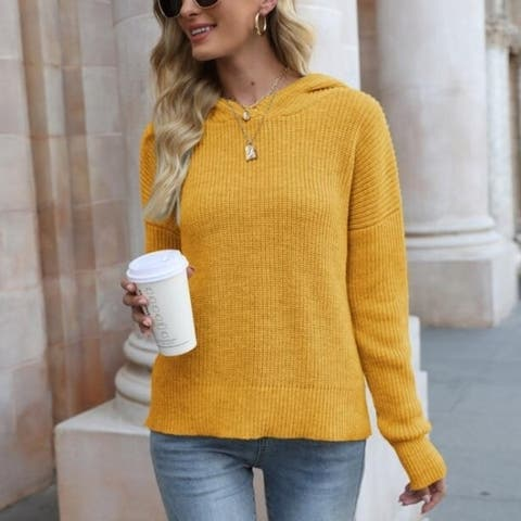 Knitted Hooded Pullover Sweaters