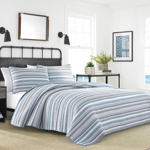 Nautica Jettison Cotton Grey Quilt Set