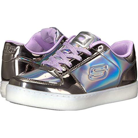Skechers Kids Womens Energy 10947L Lights (Little Kid/Big Kid) Gunmetal/Purple 7 Big Kid M