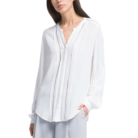 DKNY Womens Long Sleeve Button-Front Crochet-Trim Shirt Large Ivory