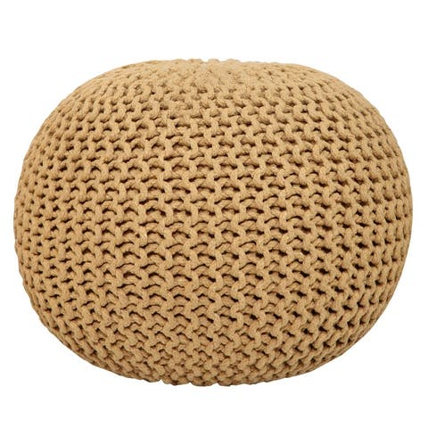 AANNY Designs Lychee Knitted Cotton Round Pouf Ottoman