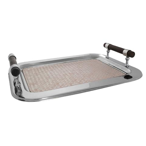 """Sol Living Rectangular Stainless Steel Serving Tray, Pink Leather - 16.5"""" x 13"""" x 2.8"""""""