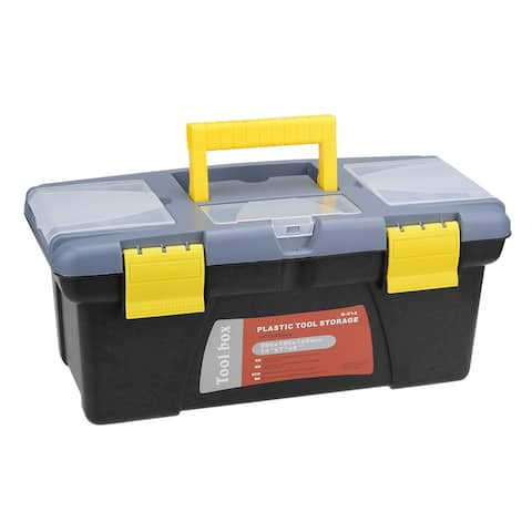 14-inch Tool Box with Tray and Organizers Includes 3 Small Parts Boxes