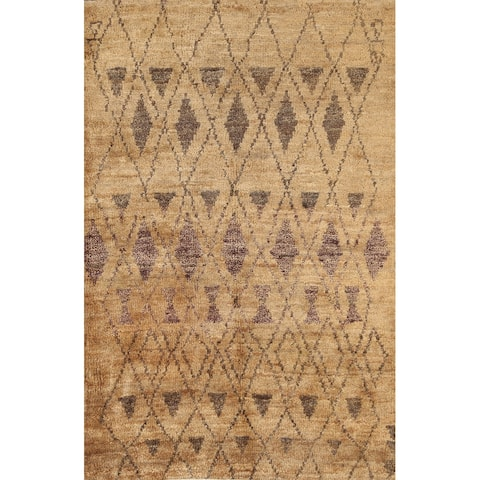 """Tribal Geometric Contemporary Oriental Area Rug Hand-knotted Carpet - 3'10"""" x 5'9"""""""