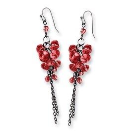 Black IP Red Crystal Filigree Teardrop Post Dangle Earrings