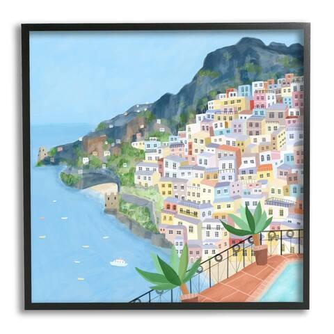 Stupell Industries Positano Cliffside Coastal City Architecture Italian Buildings Framed Wall Art - Multi-Color