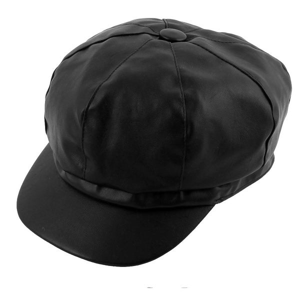339d6e9e7d3 PU Leather Adjustable Newsboy Duckbill Ivy Cap Driving Golf Flat Beret Hat  Black