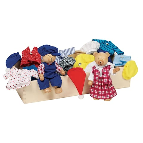 Goki Wooden Dress Up Bears Dolls - 2 Bears 8 Outfits in Wood Storage Box
