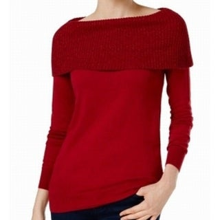 MICHAEL Michael Kors NEW Red Women's Size Large L Off Shoulder Sweater
