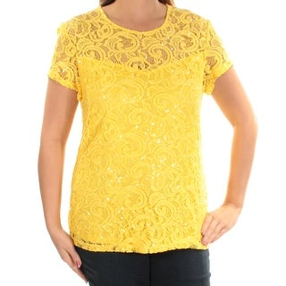 INC $70 Womens New 1131 Yellow Lace Sequined Short Sleeve Jewel Neck Top M B+B