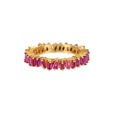Genuine Ruby Baguette Ring in sterling silver